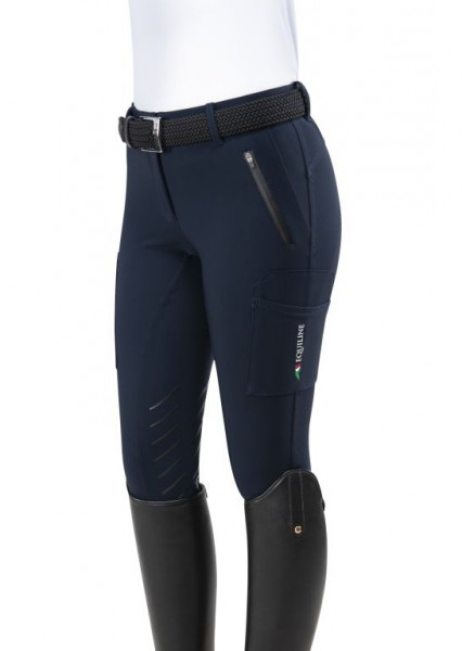 Equiline Damein Reithose Teams, Kniegrip, Navy