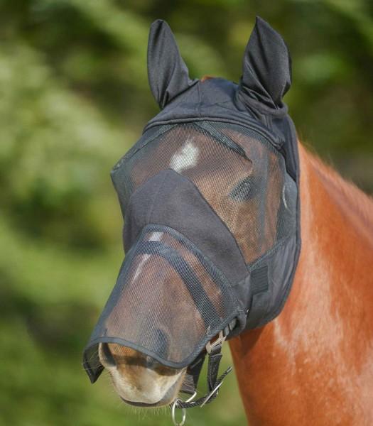 Fliegenmaske Premium mit Ohren- und Nasenschutz, schwarz
